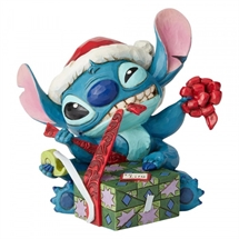 Jim Shore Disney Traditions - Bad Wrap (Stitch with Santa Hat)